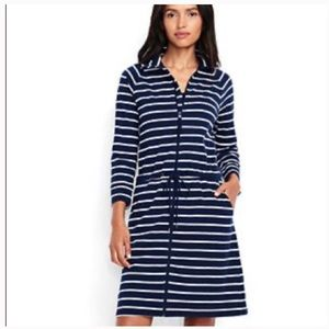Lands End blue white striped beach tunic dress